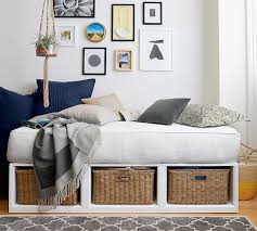 daybed images stratton storage platform daybed with baskets pottery barn
