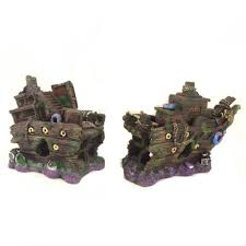 two part aquarium shipwreck ornament fish tank decoration