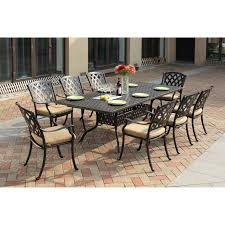 darlee ocean view aluminum 9 piece square patio dining set hayneedle