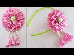 Flower Clips For Hair - diy for girls how to make kanzashi beads satin ribbon flower