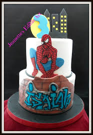 this spiderman cake is for my middle grandson isaiah bottom tier
