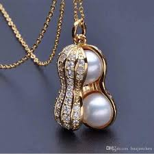 pearl pendant necklace wholesale images Wholesale beautiful peanut pearl necklace jewelry gold plated jpg