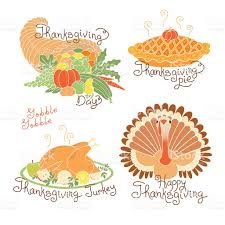 set of color drawings to thanksgiving day autumn harvest traditional