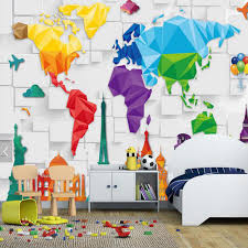 Kids World Map by Aliexpress Com Buy Kids Bedroom Wallpaper Colorful World Map