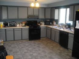 Cream And Black Kitchen Ideas L Shaped Grey Wooden Kitchen Cabinet Having White Countertop On