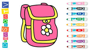 backpack drawing and coloring for kids drawing ideas for kids
