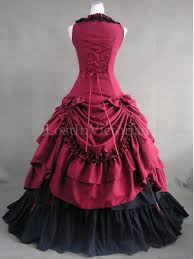 Ball Gown Halloween Costume Burgundy Black Victorian Inspired Dress Masquerade Gothic Ball