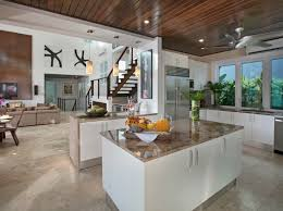 vacation home kitchen design glass flooring and back painted glass in contemporary vacation home