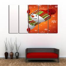 wall art christmas snowman prints split canvas paintings orange
