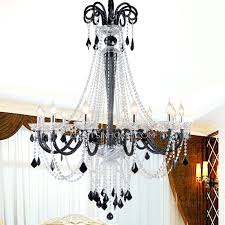 Chandelier With Black Shade And Crystal Drops Crystal And Black Chandelier U2013 Eimat Co