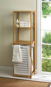 Bathroom Shelf Unit Wholesale Handy Bamboo Wood Shelf Unit With Tilt Out Hamper Bin At