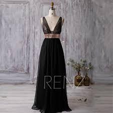 2016 black bridesmaid dress rose gold sequin wedding dress deep