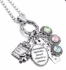children s birthstone necklace personalized mothers necklace name of children birthstone