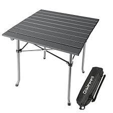 compact folding beach table amazon com qisiewell cing table aluminum outdoor folding beach