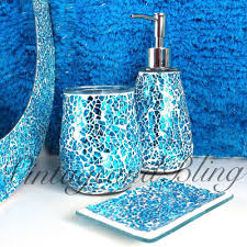 appealing blue sparkle crackle glass bathroom accessory set