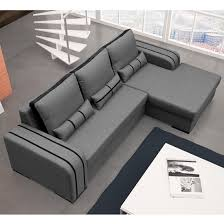 corano fabric corner sofa bed in grey and black with