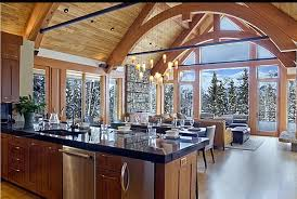 kitchen vaulted ceilings and ceiling beams with kitchen island
