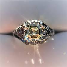vintage jewelry antique diamonds photo keywords ring asscher