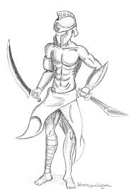 drawing spartan greek warrior sketch coloring page