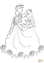 prince and princess dancing coloring page free printable