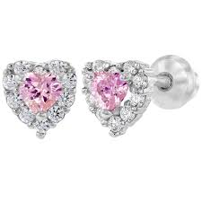girl earrings 925 sterling silver pink clear cz heart back baby girl