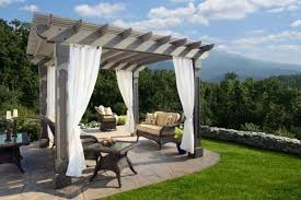 Curtains For Pergola Wood Pergola With Curtains 50 Ideas For Privacy In The Garden