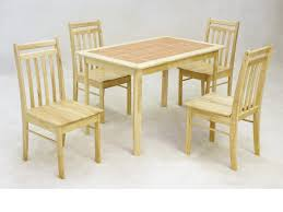 Wooden Dining Table And  Chairs Solid Rubberwood With Tiled Top - Rubberwood kitchen table