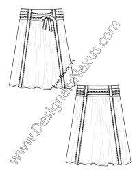 v25 lace trim skirt flat fashion sketch template free