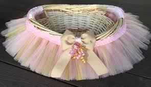 baby shower baskets pink and gold tutu basket tutu gift basket tutu baby shower
