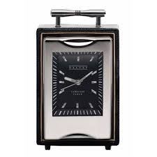 dalvey black leather travel table clock da516 fendess