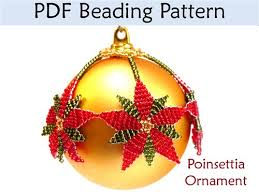 poinsettia beaded ornament pdf beading pattern interweave