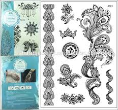 newest design 1pc black temporary flash henna lace tattoos sticker
