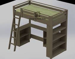 Wooden Loft Bed Diy by Wood Loft Bed Etsy