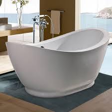 shop aquatica purescape acrylic high gloss white oval freestanding