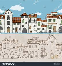 seamless border mediterranean houses hand drawn stock vector