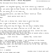 Bad Girls Lyrics Song Fat Bottomed Girls By Brian May Queen Song Lyric For Vocal