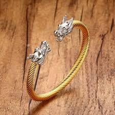 gold bangle bracelet men images Mens cuff bracelets in gold color double head dragon steel twisted jpg
