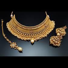 gold choker necklace sets images Zena polki and pearl choker necklace set gold at bling polki jpg