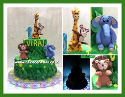 Jungle Cake Elephant Lion Monkey U0026 Giraffe As Cake Toppers