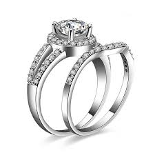 silver wedding ring sets exquisite 925 sterling silver emulation diamond engagement ring