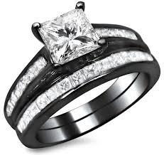 black bridal sets 2 25ct channel set princess cut diamond engagement ring bridal set