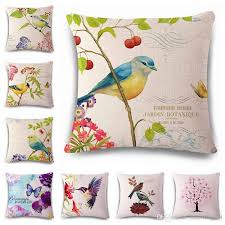 flowers and birds scenery decorative cushion covers bright