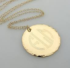 Monogram Pendant Necklace Initial Monogram Pendant Engraved Gold Monogram Necklace