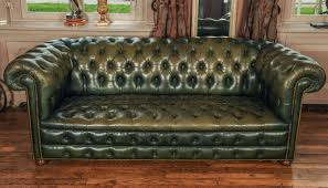 Leather Chesterfields Sofas Green Leather Chesterfield Sofa At 1stdibs