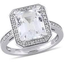 white topaz engagement ring miabella 4 carat t g w white topaz and 1 10 carat t w diamond