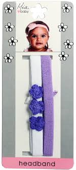 flower bands crochet flower jersey headband purple flowers with white and