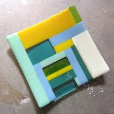 colorful fused glass plate glass table decor glass home decor