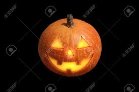 scary halloween pumpkin jack o lantern candle lit isolated on