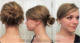 side buns for shoulder length fine hair messy bun for shoulder length hair youtube
