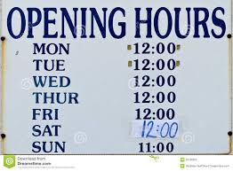 opening hours sign royalty free stock photo image 20196555